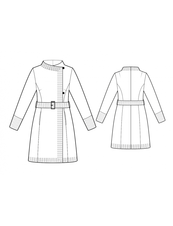Fashion Designer Sewing Patterns - Off-Center Closure Belted Coat
