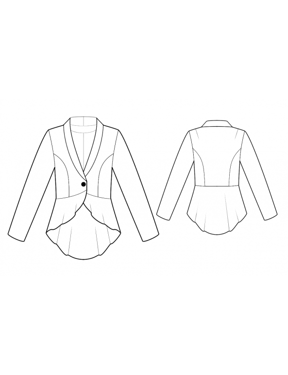 Fashion Designer Sewing Patterns - Long-Sleeved Fitted Jacket with Peplum Fish Tail