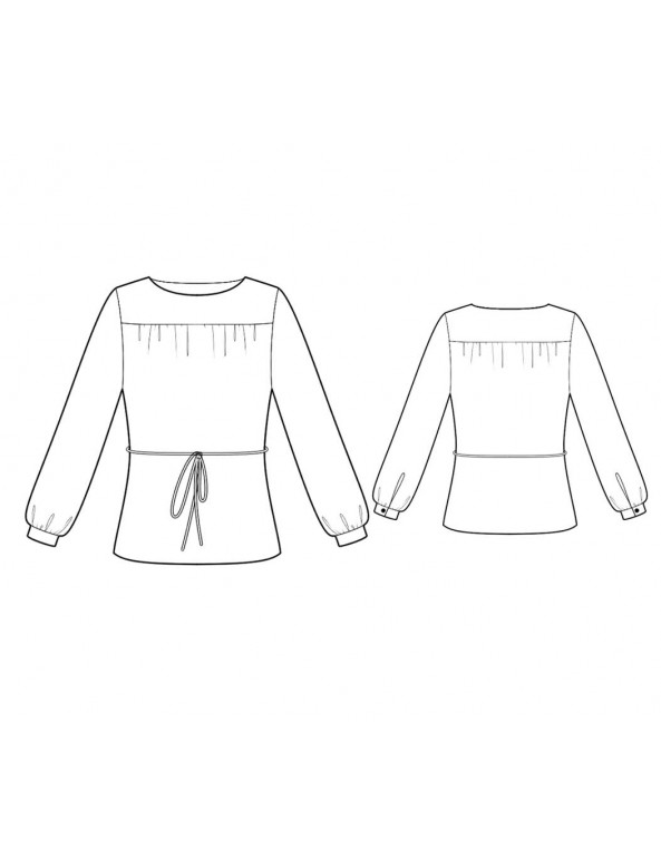 Fashion Designer Sewing Patterns - Boatneck Blouse With Bishop Sleeves And front Yoke