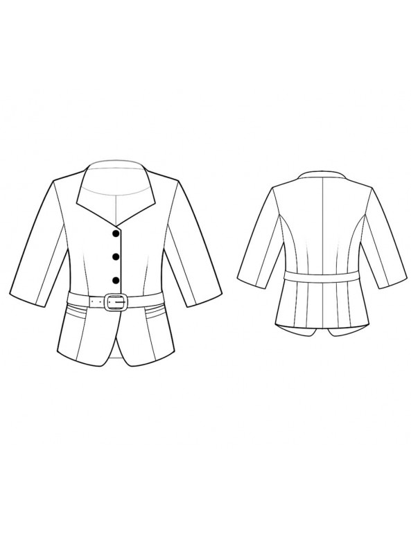 Fashion Designer Sewing Patterns - Sweetheart Neck Cropped Jacket