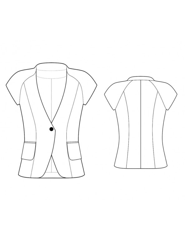 Fashion Designer Sewing Patterns - Capped-Sleeve Collarless Jacket
