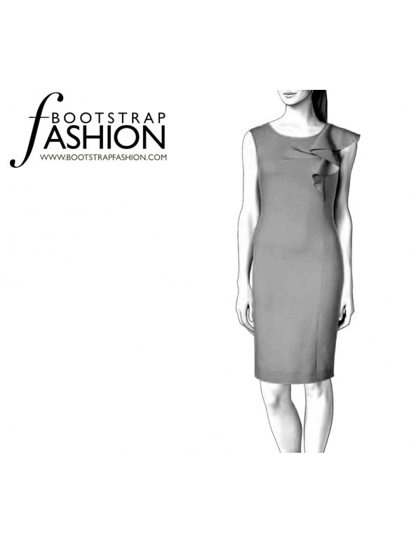 Fashion Designer Sewing Patterns - Sheath With Cascading Ruffle