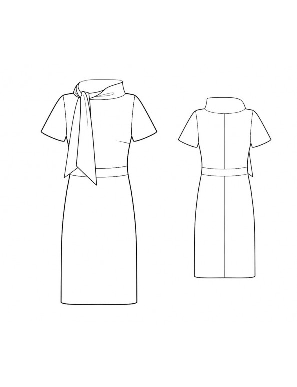 Fashion Designer Sewing Patterns - Scarf Collar Knit Dress