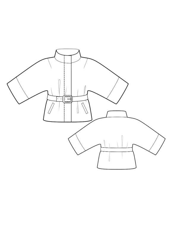 Fashion Designer Sewing Patterns - Belted Jacket with Kimono Sleeves