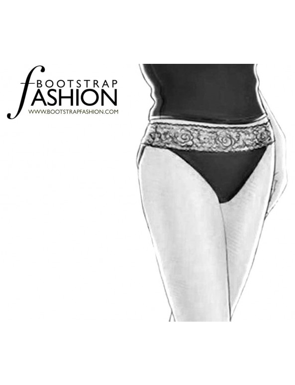 Fashion Designer Sewing Patterns - Lace Trimmed High Cut Briefs