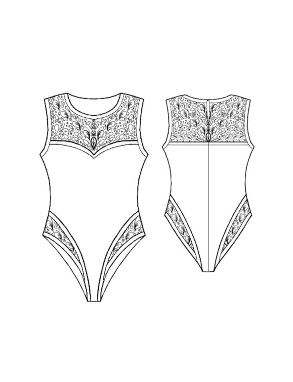 Fashion Designer Sewing Patterns - Lace Trimmed Bodysuit