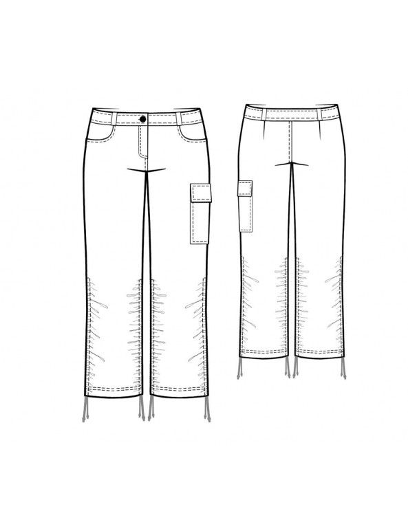 Fashion Designer Sewing Patterns - Shirred-Leg Thigh-Pocket Jeans