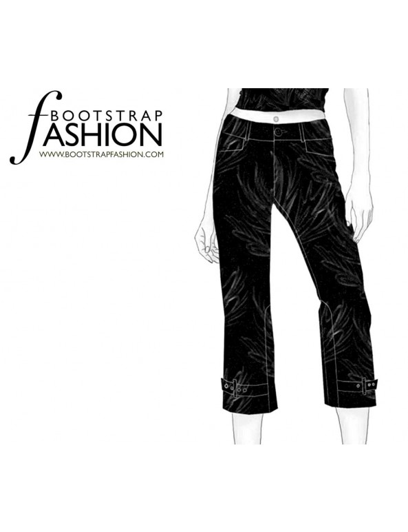 Fashion Designer Sewing Patterns - Belted-Cuff Low-Rise Jeans