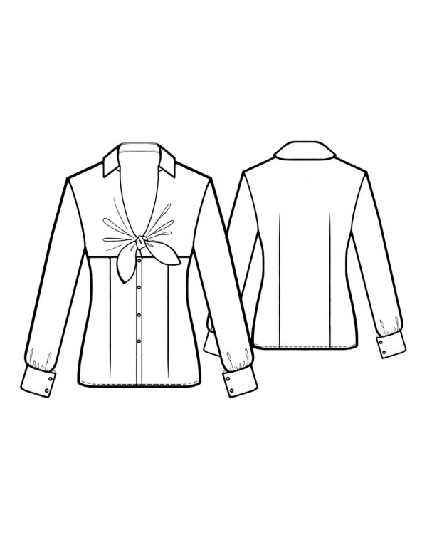 Fashion Designer Sewing Patterns - Fitted Blouse with Tie Neck
