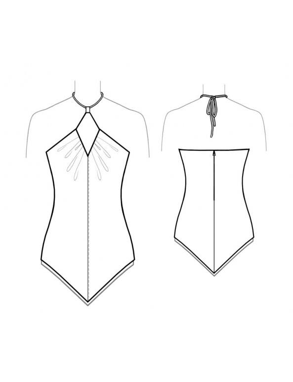 Fashion Designer Sewing Patterns - Handkerchief Hem Halter Top