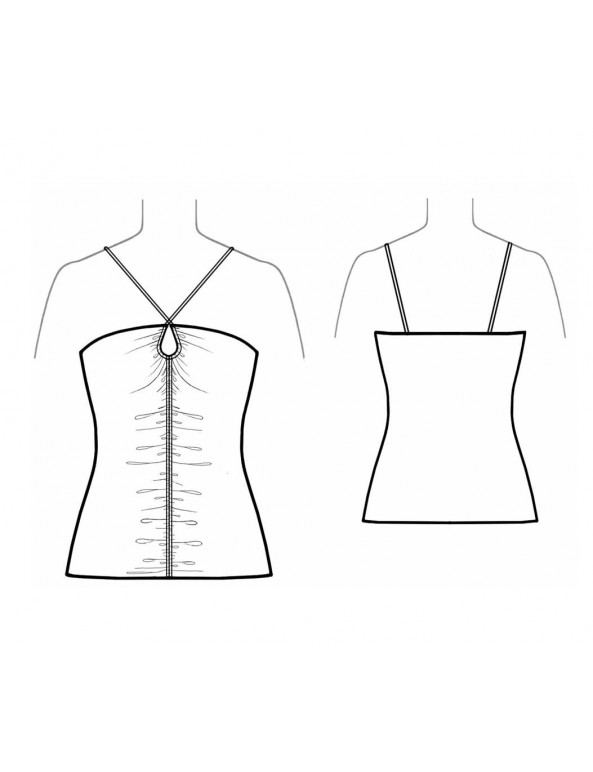 Fashion Designer Sewing Patterns - Ruched Front Knit Tube With Halter Ties