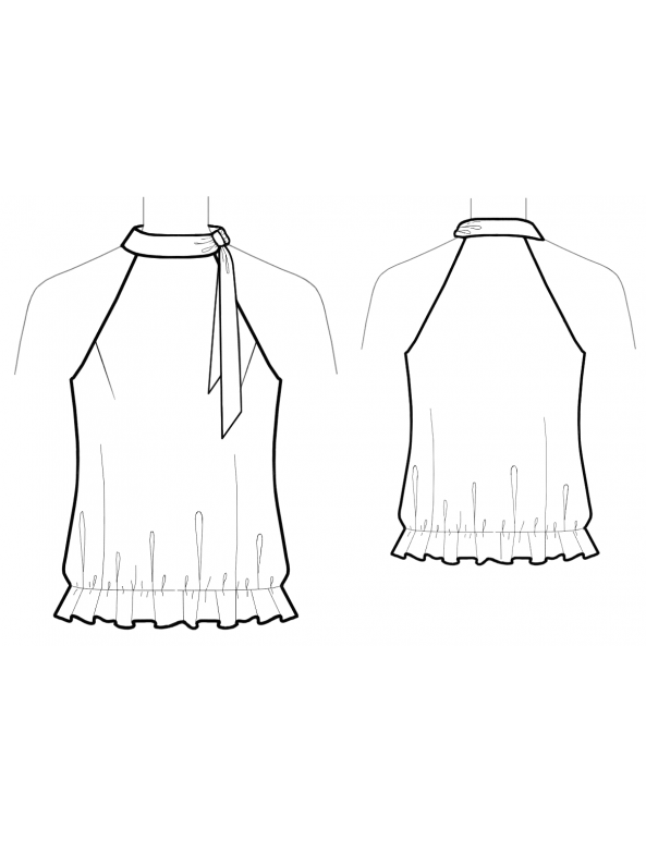 Fashion Designer Sewing Patterns - Halter Style Blouson Top