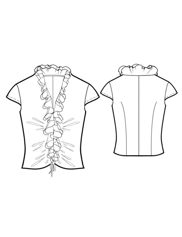 Fashion Designer Sewing Patterns - Capped-Sleeve V-Neck Ruffle Blouse