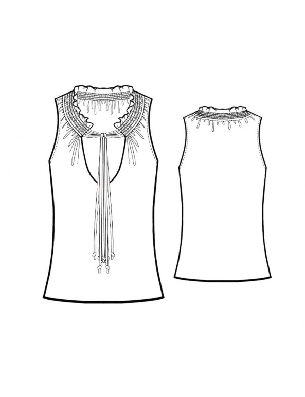 Fashion Designer Sewing Patterns - Sleeveless Shirred-Neck Blouse