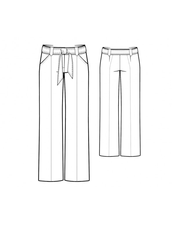 Fashion Designer Sewing Patterns - Straight Leg Tie Waistband Trousers