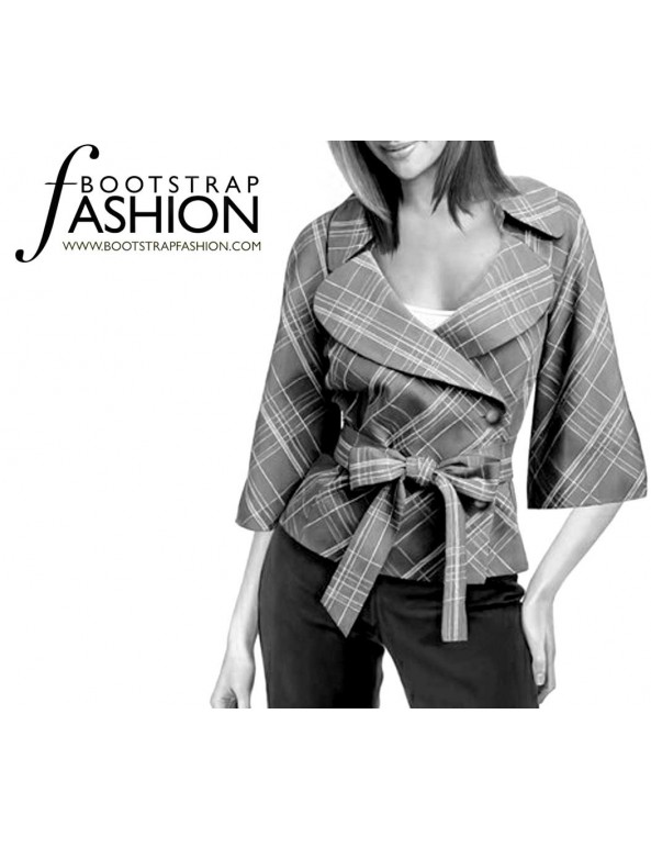 Fashion Designer Sewing Patterns - Wrap Jacket with Three-Quarter-Length Sleeves
