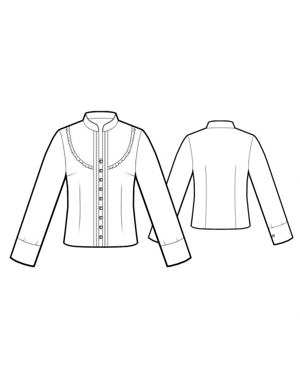 Fashion Designer Sewing Patterns - Long-Sleeved Victorian-Style Blouse