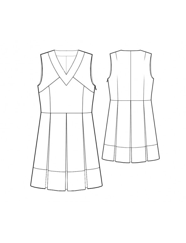 Fashion Designer Sewing Patterns - V-Neck Tunic with Pleats