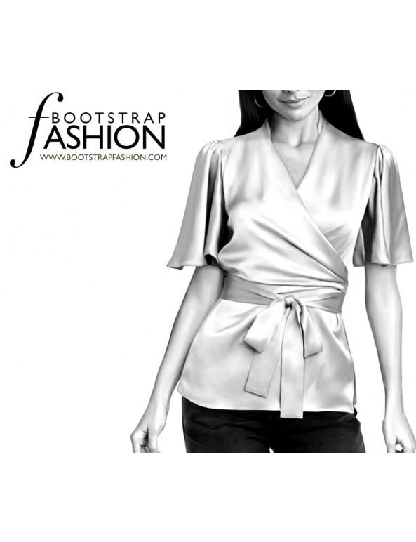 Fashion Designer Sewing Patterns - Short-Sleeved Wrap Blouse