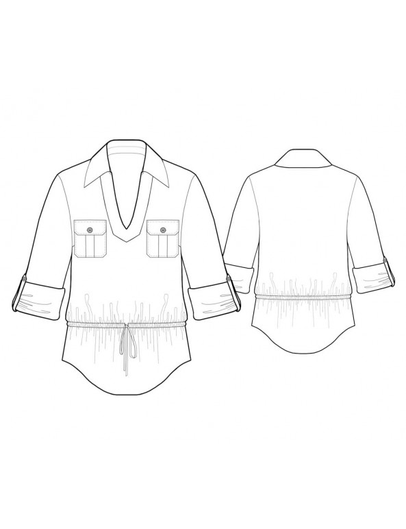Fashion Designer Sewing Patterns - Camp Shirt with V-Neck