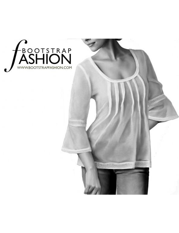 Fashion Designer Sewing Patterns - Scoop Neck Pin-tuck Top