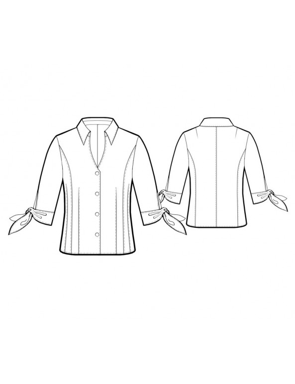 Fashion Designer Sewing Patterns - Button-Down Blouse with Ties