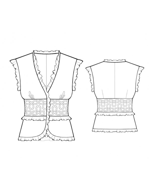 Fashion Designer Sewing Patterns - Ruffled Blouse with Fitted Waist