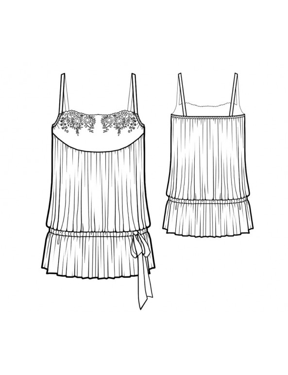 Fashion Designer Sewing Patterns - Blouson Style Lace Trimmed Camisole