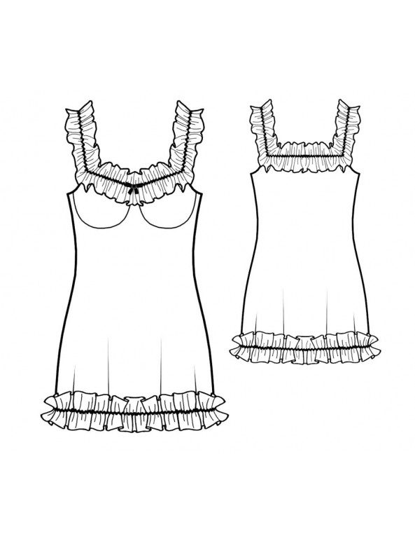 Fashion Designer Sewing Patterns - Chiffon Ruffles Chemise