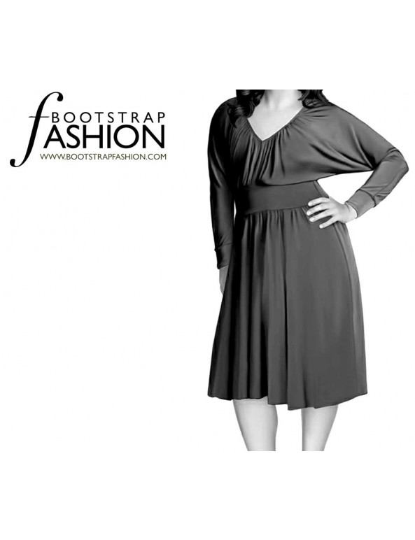 Fashion Designer Sewing Patterns - Dolman Sleeve Ruched Front Knit Dress