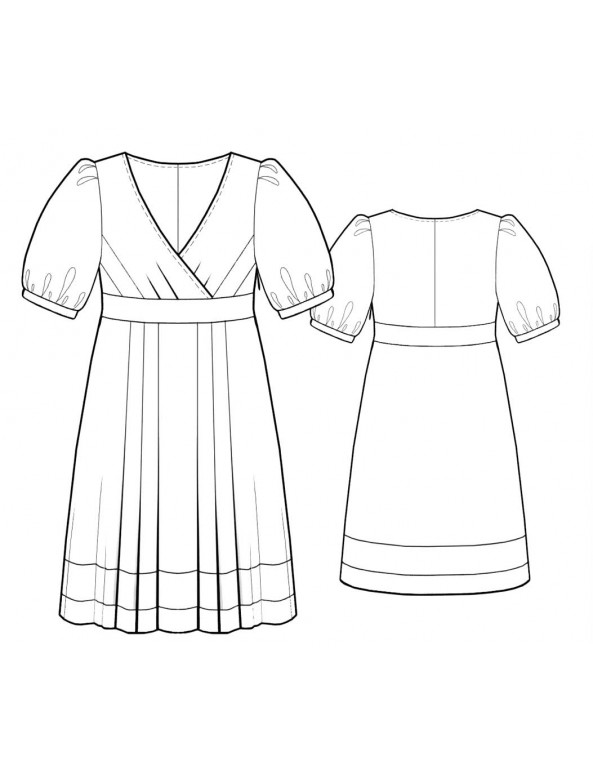 Fashion Designer Sewing Patterns - Surplice Puff Sleeve Empire Waist Dress