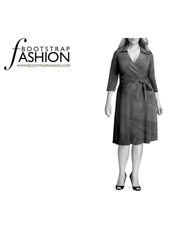 Fashion Designer Sewing Patterns - Wrap Dress With Shirt Collar