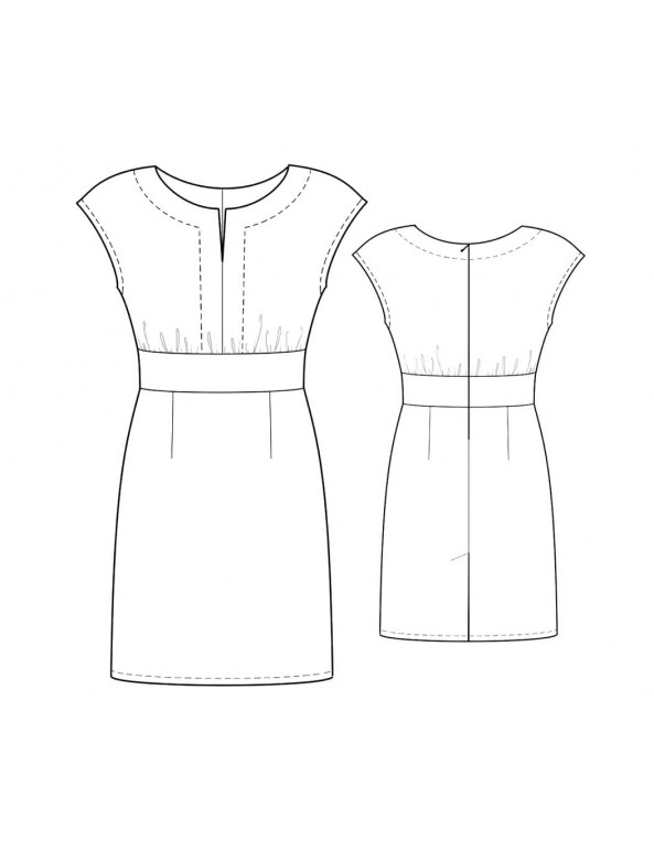 Fashion Designer Sewing Patterns - Dropped Shoulder Keyhole-Neck Dress