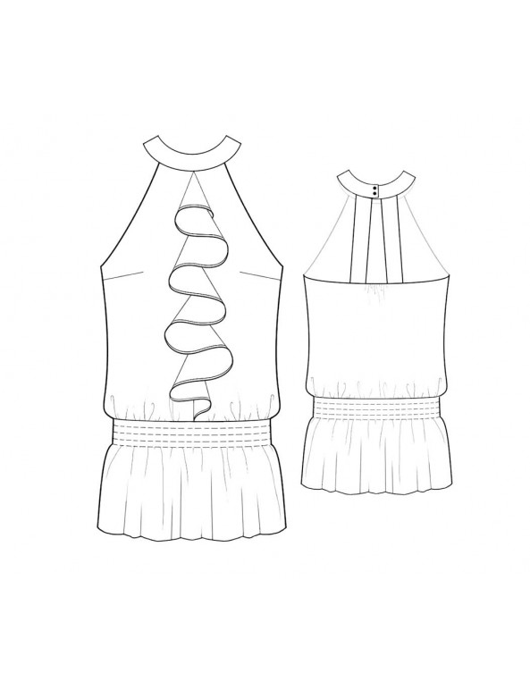 Fashion Designer Sewing Patterns - Ruffle Front Halter Blouson