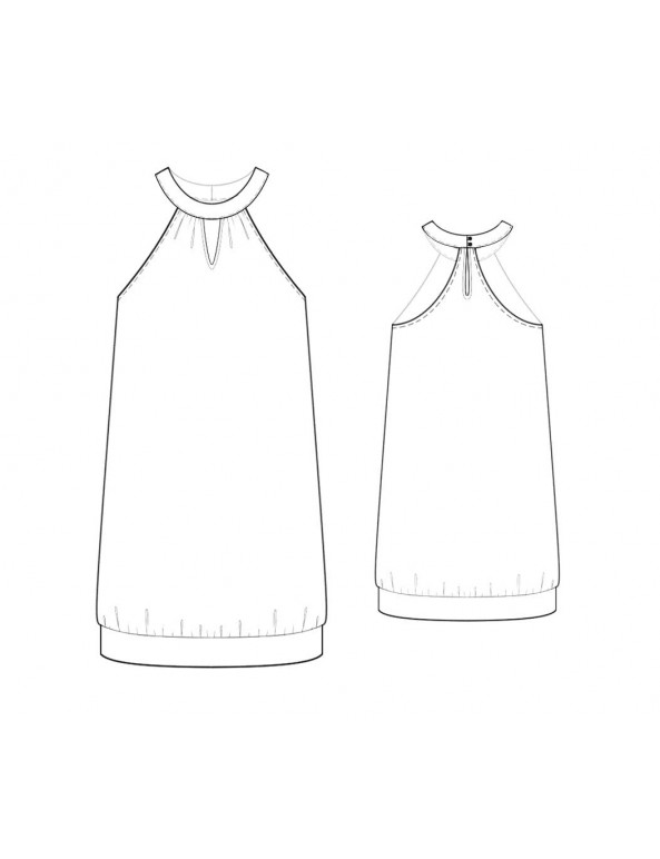 Fashion Designer Sewing Patterns - Halter Dress with Key-Hole Neckline