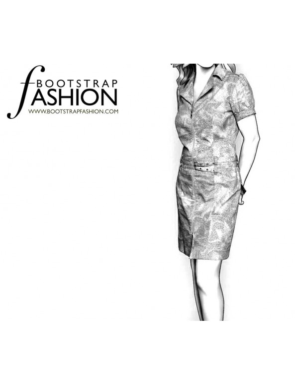 Fashion Designer Sewing Patterns - Shirt Dress with Double-Stitched Seams