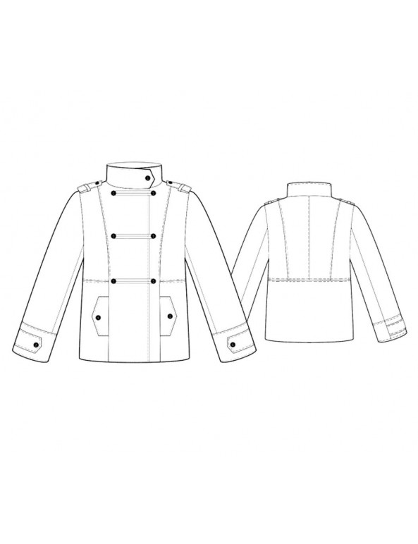 Fashion Designer Sewing Patterns - Funnel-Neck Military Coat