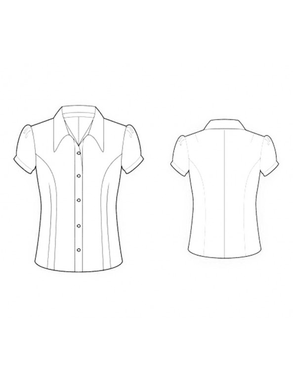 Fashion Designer Sewing Patterns - Cap-Sleeved Button-Down Tailored Blouse