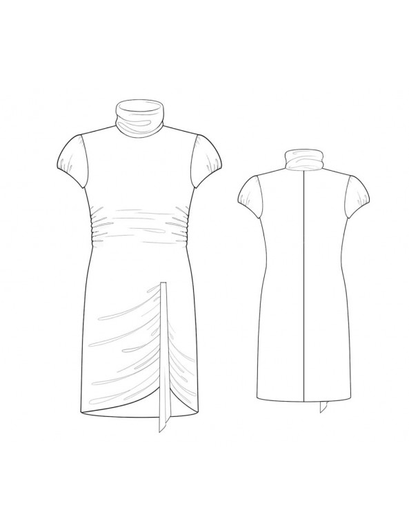 Fashion Designer Sewing Patterns - Draped Asymmetrical Turtleneck Knit Dress