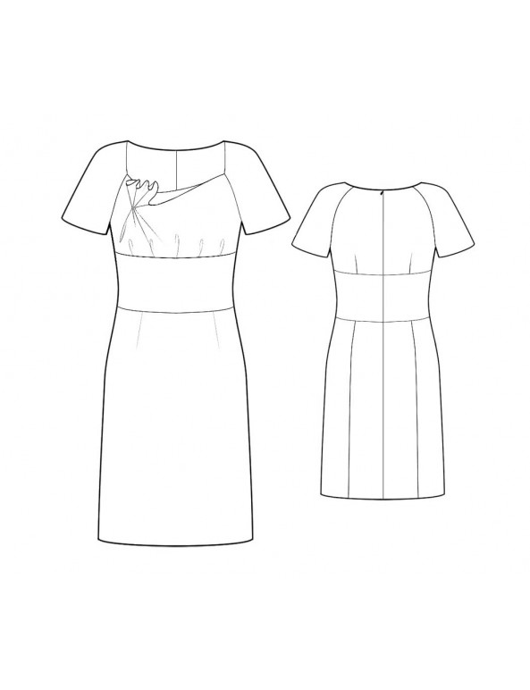 Fashion Designer Sewing Patterns - Short-Sleeved Dress with Asymmetrical Neckline