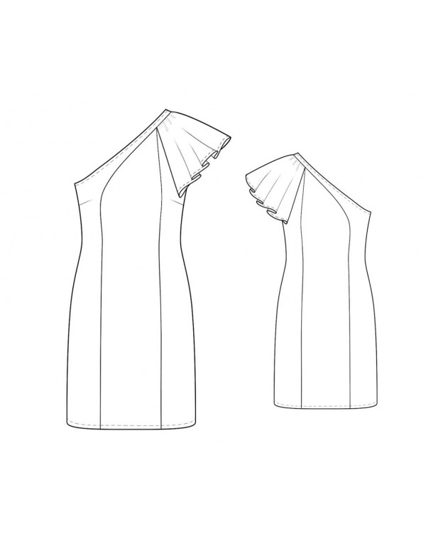 Fashion Designer Sewing Patterns - One-Shoulder Flutter Sleeve Dress