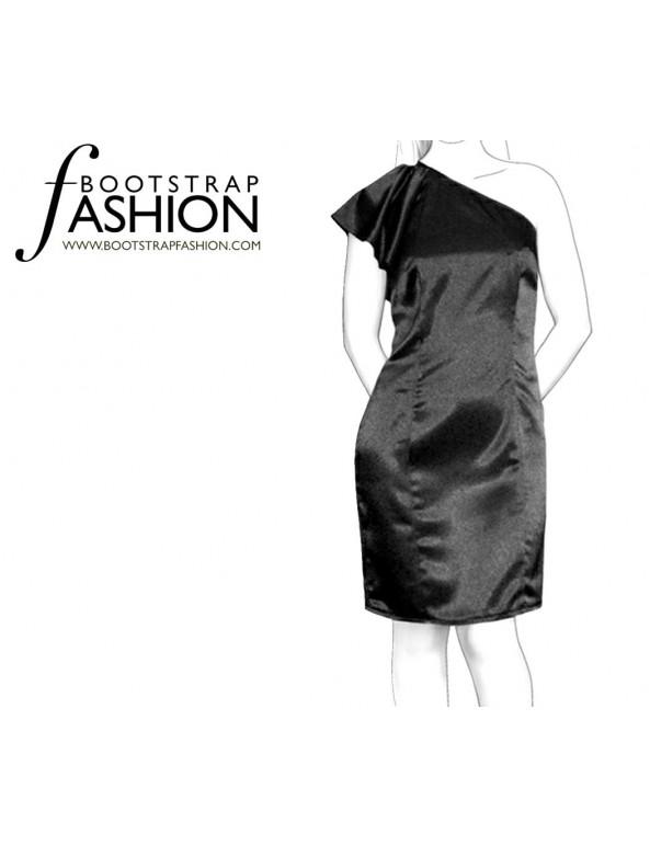 Fashion Designer Sewing Patterns - One-Shoulder Flutter Sleeve Dress