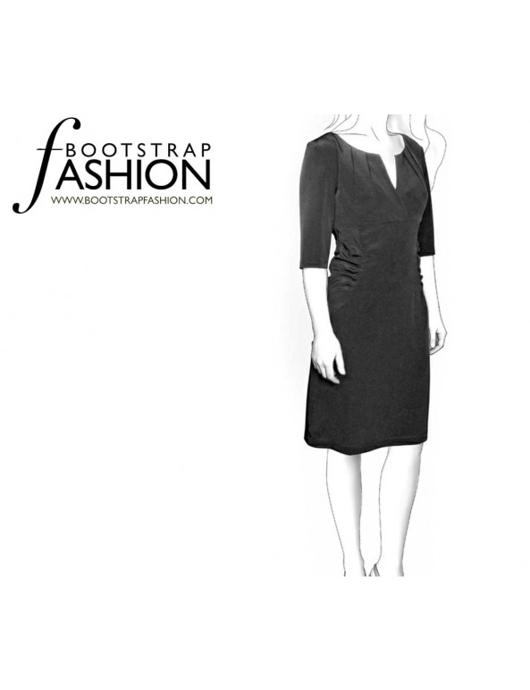 Fashion Designer Sewing Patterns - High-Waisted Dress with Pointed Neckline