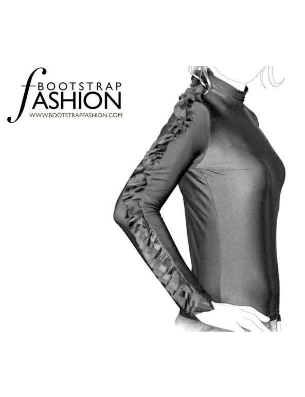 Fashion Designer Sewing Patterns - Ruffle Detail Sleeve Knit Turtleneck