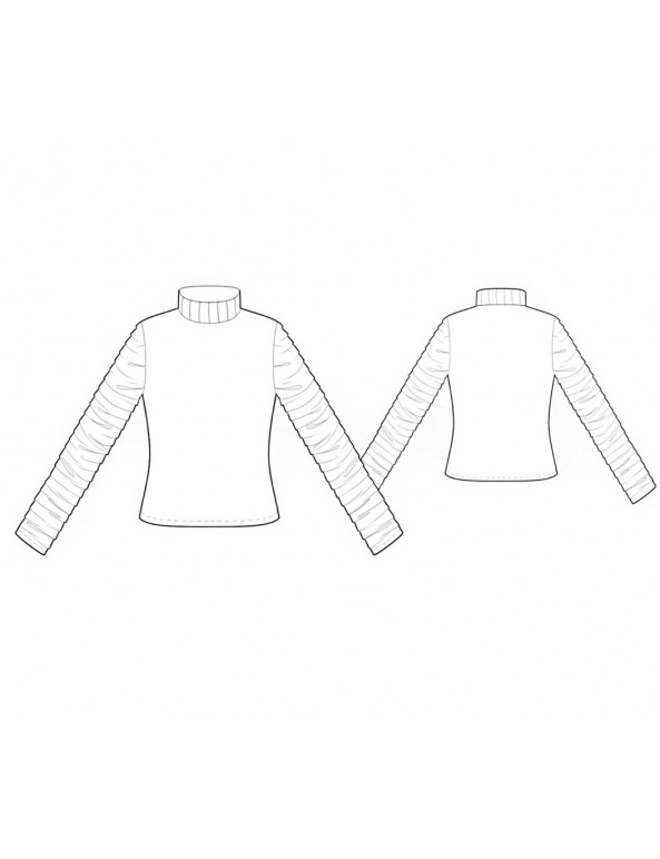 Fashion Designer Sewing Patterns - Ruched Sleeves Knit Turtleneck