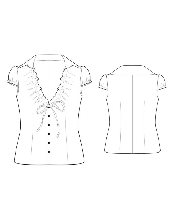 Fashion Designer Sewing Patterns - V-Neck, Ruffle-Front Blouse with Tie