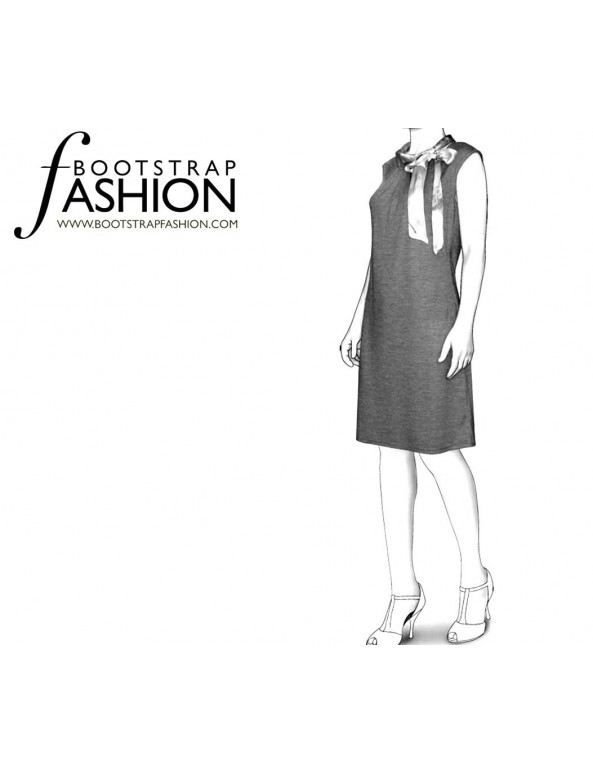Fashion Designer Sewing Patterns - Sleeveless Dress with Tied Neckline