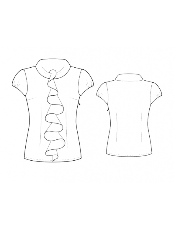 Fashion Designer Sewing Patterns - Capped-Sleeved Blouse with Front Ruffle