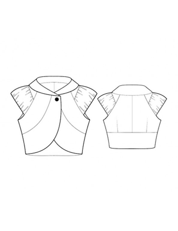 Fashion Designer Sewing Patterns - Cropped Curved Jacket with Draped Cap Sleeves