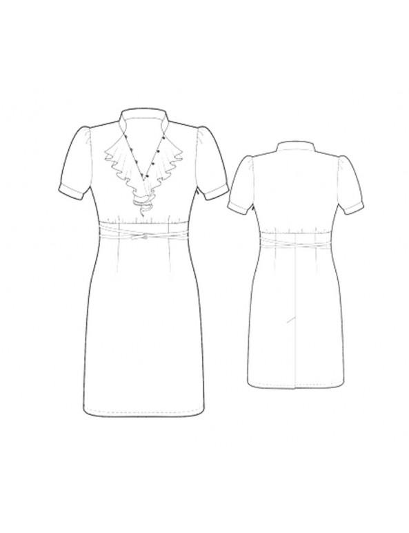 Fashion Designer Sewing Patterns - Short-Sleeved V-Neck Ruffle Dress